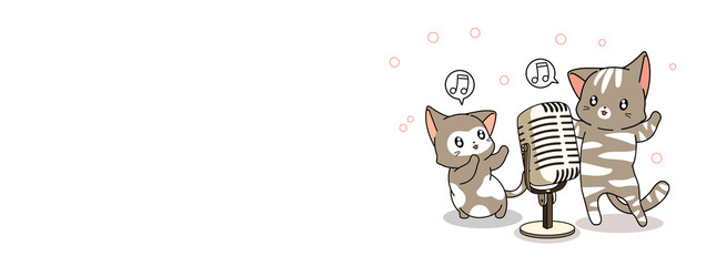 Adorable cats are singing on white background