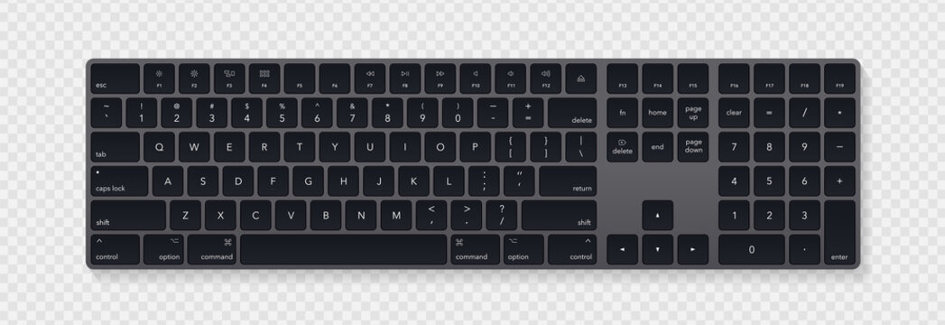 Modern grey laptop bluetooth keyboard isolated on transparent background. Minimalistic keyboard with black buttons. Vector illustration