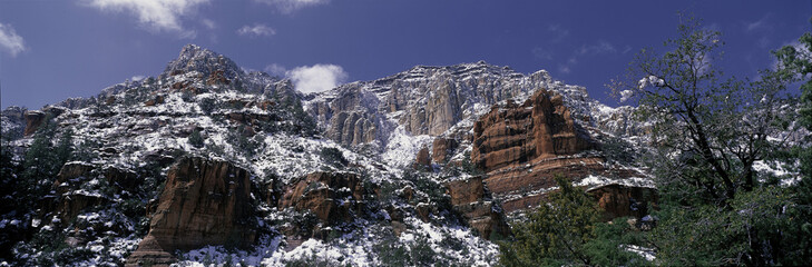 These are the red rocks of Sedona after a freshly fallen snow.