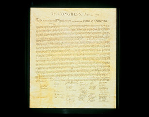 This shows the original Declaration of Independence in its entirety written on its now faded...