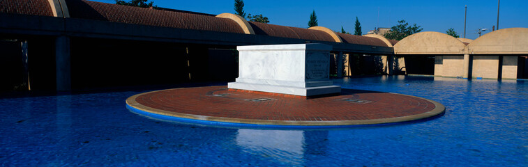 This is the Martin Luther King Center with Martin Luther King's Tomb at the center of a reflecting pool.