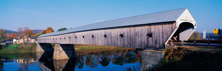 Wall Mural - This is the Cornish-Windsor Covered Bridge. It connects Vermont and New Hampshire at their borders. It is the world's longest covered bridge with 460 feet. It was built in 1866.