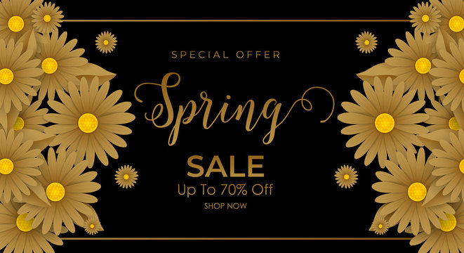 Spring sale background with beautiful golden flowers