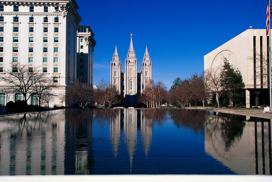 This is the historic Temple Square which is the home of the Mormon Tabernacle Choir. The Angel Moroni is on the very top of the temple building.