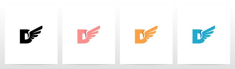 Wings On Letter Logo Design D