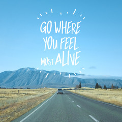 Spoed Fotobehang Blauw Inspirational motivational quote