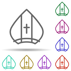 Pope, italy in multi color style icon. Simple thin line, outline vector of italy icons for ui and ux, website or mobile application