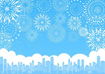 都市 花火 ブルー背景
