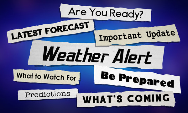 Weather Update News Headlines Storm Info Emergency Announcement 3d Illustration