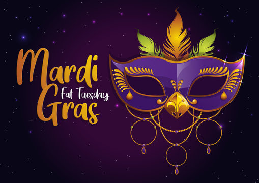 Mardi Gras, Carnival Party with Purple Feather Mask,  gretting card banner, poster,  template, Flyer & brochure On background sparkling stars, vector illustration, EPS10.