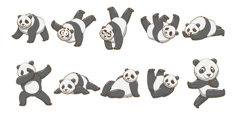 Panda vector set collection graphic clipart design