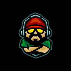 gamer with headphone and snap back mascot logo