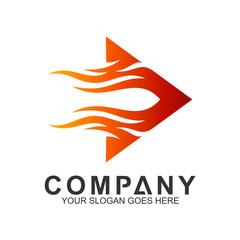 fast arrow logo with fire motion shape, hot play logo