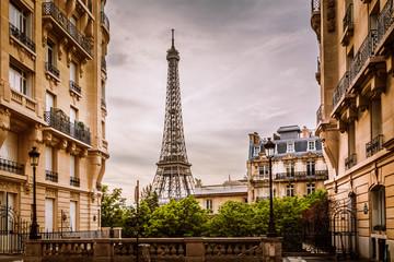 Aluminium Prints Eiffel Tower Eiffel Tower view from a residential corner in Paris, France