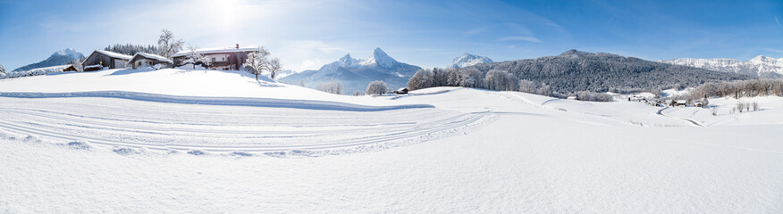 Wall Mural - Winter wonderland scenery with cross-country skiing track in the Alps