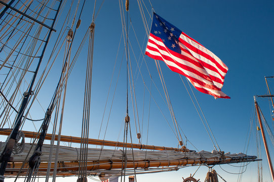 Old Glory on a tall ship