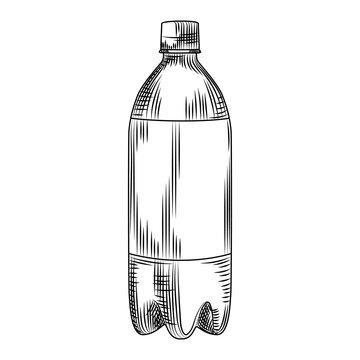 Hand drawn plastic bottle isolated on white background.