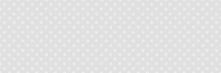 Background with hearts. Seamless monochrome wallpaper on surface. Black and white illustration. Print for polygraphy, banners and textiles. Doodle for your design Fotobehang