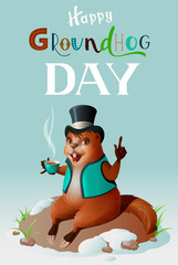 Happy groundhog day greeting card template lettering text. Cute groundhog in hat drinks invigorating coffee