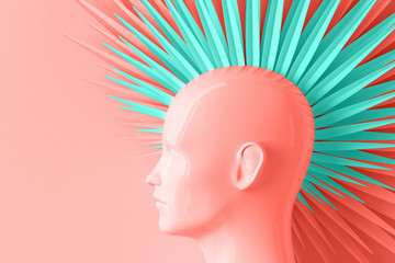 Abstract color pastel background with female profile and stylized defiant fashionable Mohawk hairstyle painted in coral and blue 3D illustration