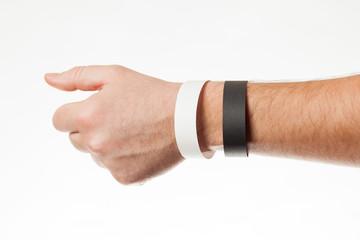 Black and white version of blank bracelet on hand. Paper festival branding wristband, mockup.
