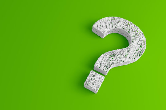 A set of thin thread intertwined in the shape of a question mark on a green background. 3D illustration.