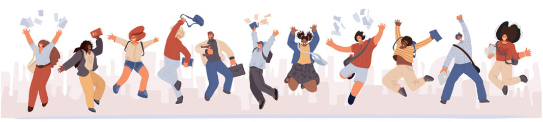 Group of happy students jumping with books, paper in hands. Young joyful jumping and dancing multiracial student people with raised hands. Happy education, joyfull cheerful study, graduation concept