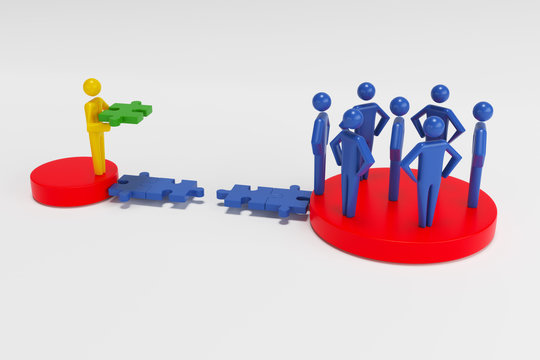 3d people - human character - person. 3d figure last jigsaw piece puzzle. Concept of contact bridge from the puzzle. 3d rendering