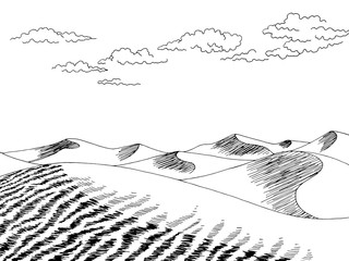 Desert graphic black white landscape sketch illustration vector