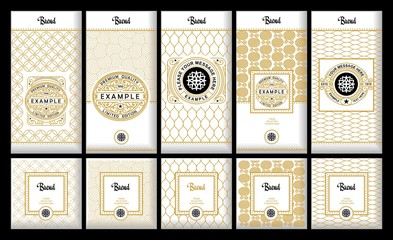 Vector set of design elements, labels ,icon, frames ,for packaging, design of luxury products. Made with golden foil. For perfume, lotion, wine, tea, coffee. Isolated on gold and geometric background. Wall mural