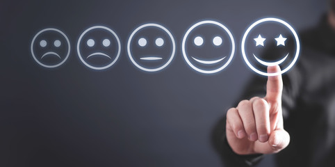 Businessman pressing excellent smiley. Business customer service. Rating. Feedback Wall mural
