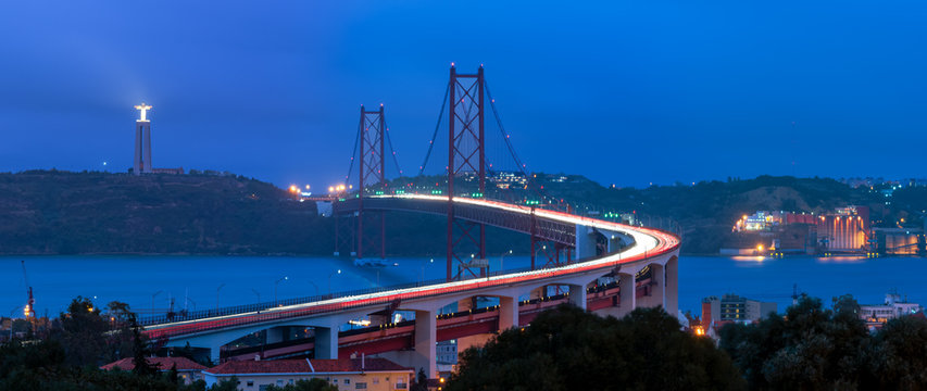 25 of April bridge in Lisbon at night
