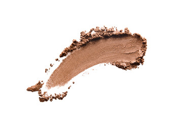 Bronzer, eye shadow swatch smear smudge isolated on white background. Brown makeup powder texture. Nude crushed eye shadow stroke. Bronze color beauty product smudged