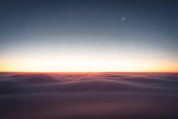 Canvas Prints Magenta Winter landscape in Krkonose, beautiful sunrise with moon shot from highest mountain in Czech republic called Snezka.