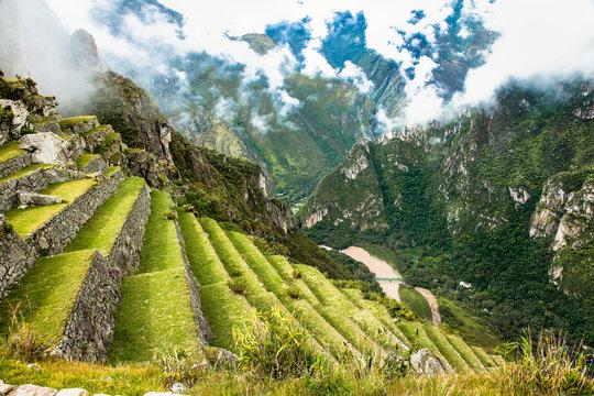 Former agricultural terraces at Machu Picchu ruins, Peru.