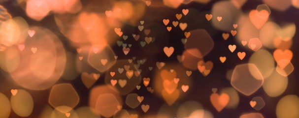 Fototapete - abstract background of lights with many hearts - concept love