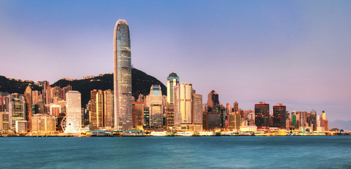 Fotomurales - Hong Kong skyline at sunrise from kowloon side, Victoria harbour