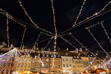 Christmas Lights in Warsaw City At Night