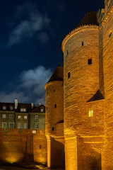 Barbican at Night in Old Town of Warsaw