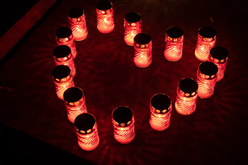 Heart Of Red Candle Lights At Night