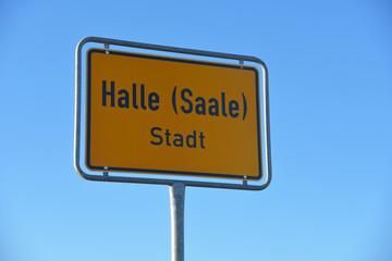 Ortsschild von Halle an der Saale