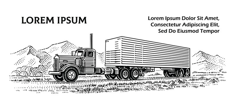 American Truck vintage/retro style engraved illustration. Monochrome, isolated, layered, text outlined (only for preview).