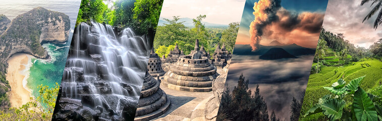 Indonesia famous landmarks collage