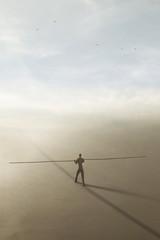 surreal man balances a very long rod along an imaginary line