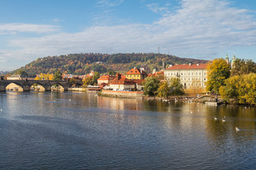 Wall Mural - View of colorful old town and Prague castle with river Vltava, Czech Republic