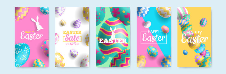 happy easter vertical banners set for social media mobile app stories design