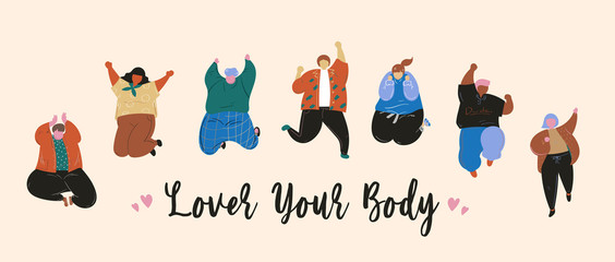 Love your body, Women and men body positive and people concept, Happy plus size, Friendship, Hand drawn vector illustration. Fototapete