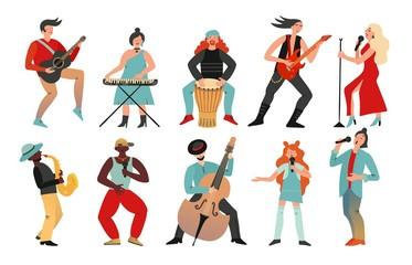 Musicians. Rock band, pop musician. Music instruments guitarists drummers, singers artists with microphones, cartoon characters vector set. Illustration music band, guitarist singer with microphone