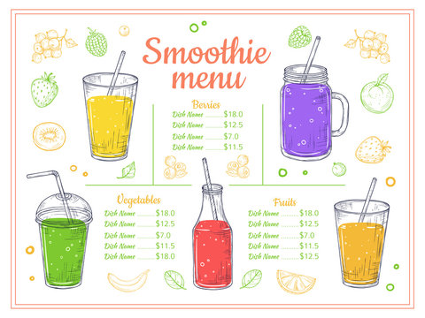 Smoothie menu. Cold drinks, summer shakes and cocktails. Sketch lemonade and healthy diet beverages. Fruits berries juice vector poster. Illustration smoothie menu, lemonade drink, juice cocktail