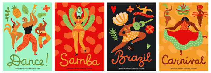 Brazil carnival. Samba, latin trendy party. Fashion brazilian dance festival abstract flyers. Fun music event with dancers vector posters. Illustration brazilian poster and banner, samba brazil dancer